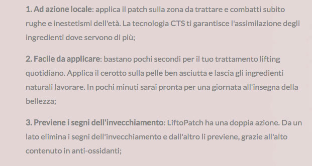 liftopatch benefici
