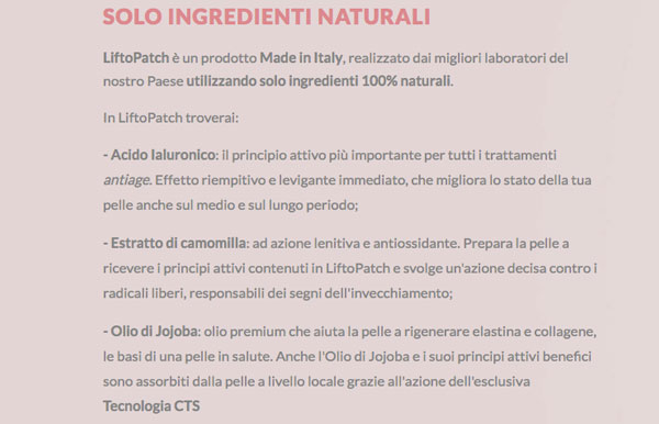 liftopatch ingredienti